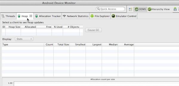 Launch Android Debug Monitor select DDMS and then click the Heap tab