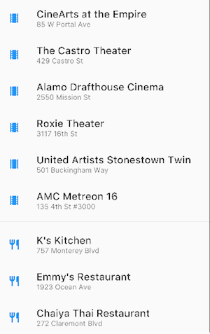 a ListView containing movie theaters and restaurants