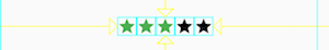 a row of 5 stars, packed together in the middle of the row